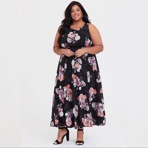 Black floral maxi plus size dress